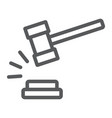 judge hammer line icon judgment and law auction vector image vector image