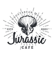 Jurassic cafe logo template Dinosaur vegetarean vector image