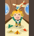 kid playing with an airplane vector image