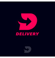 logo delivery d monogram with arrow vector image vector image