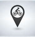 man on bike map pin pointer concept of biking vector image vector image
