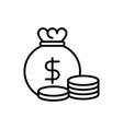money bag stacked coins bank investment business vector image