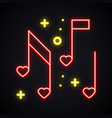 neon music note with heart sign glowing karaoke vector image vector image