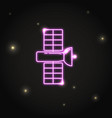 neon space satellite icon in thin line style vector image vector image