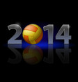 new year 2014 metal numerals with volleyball vector image vector image
