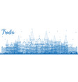 outline kochi india skyline with blue buildings vector image vector image