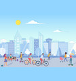 people with bikecycles hoverboards babies vector image vector image
