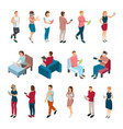 people with gadgets collection vector image