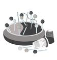pincushion pins thread a needle and thimbles vector image vector image