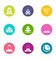 priest icons set flat style vector image