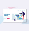 printshop or printing service center with man work vector image vector image