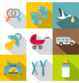 products for newborns icon set flat style vector image vector image