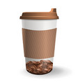 realistic to go and takeaway paper cup with vector image vector image