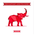 Red elephant logo with reflux and low poly vector image vector image