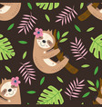 seamless pattern with sloth hanging on a branch vector image vector image