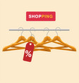 shopping clothes hanger tag background im vector image