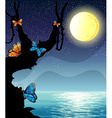 Silhouette nature scene on fullmoon night vector image vector image