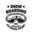 snowboarding emblem with ski glasses vector image vector image