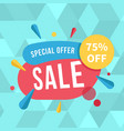 special offer 75 off sale blue background vector image