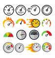speedometer icon set speed symbol auto vector image