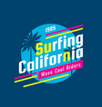 surfing california - concept logo badge vector image