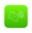 tablet pc with gps and wifi sign icon green vector image