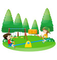 two boys on seesaw vector image vector image