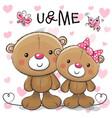 two cute cartoon teddy bears vector image vector image