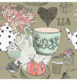 Vintage tea party pattern vector | Price: 1 Credit (USD $1)