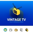 Vintage TV icon in different style vector image vector image