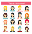 woman avatars set in flat style vector image vector image