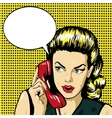 Woman talking by phone with speech bubble vector image vector image