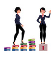 young businesswoman climbing career ladder and vector image vector image