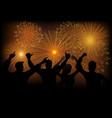 joyful people watching fireworks vector image