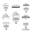 Set of hand drawn hannukah menorah vector image