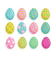 big set of colored eggs easter decoration element vector image