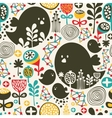 Birds flowers and geometric elements vector image