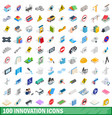 100 innovation icons set isometric 3d style vector image vector image