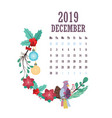 2019 calendar with colorful birds and flowers vector image