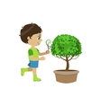 Boy Shaping The Bush vector image