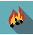 Burning black coal icon flat style vector image vector image