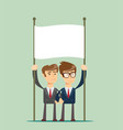 business team holding blank placard vector image