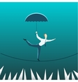 Businessman with an umbrella over the precipice vector image
