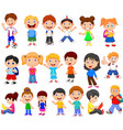 cartoon happy children collection set vector image vector image