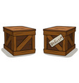 cartoon wooden delivery box crate set vector image