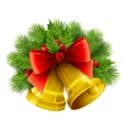 Christmas decoration with evergreen trees holly vector image vector image