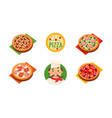 collection of whole pizza with different vector image