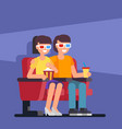 couple seating in cinema vector image vector image