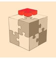 cube puzzle retro style sketch vector image