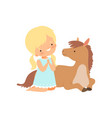 cute girl sitting next to lying foal kid vector image